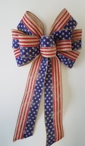 """2 Large 10"""" Hand Made Wired Red Blue Natural Bows Flag Patriotic American - $18.56"""