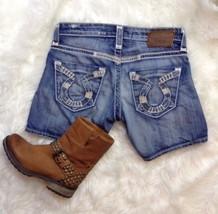 Big Star Liv Stitched Pockets Blue Jean Shorts Size 25 Destroyed Denim - $25.70