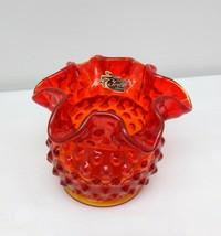"""Vintage 60's Fenton 3"""" Orange Hobnail Double Crimped Ruffled Vase  - $25.00"""