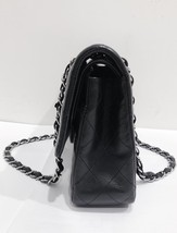 SALE Authentic Chanel BLACK QUILTED LAMBSKIN MEDIUM CLASSIC DOUBLE FLAP BAG SHW image 3