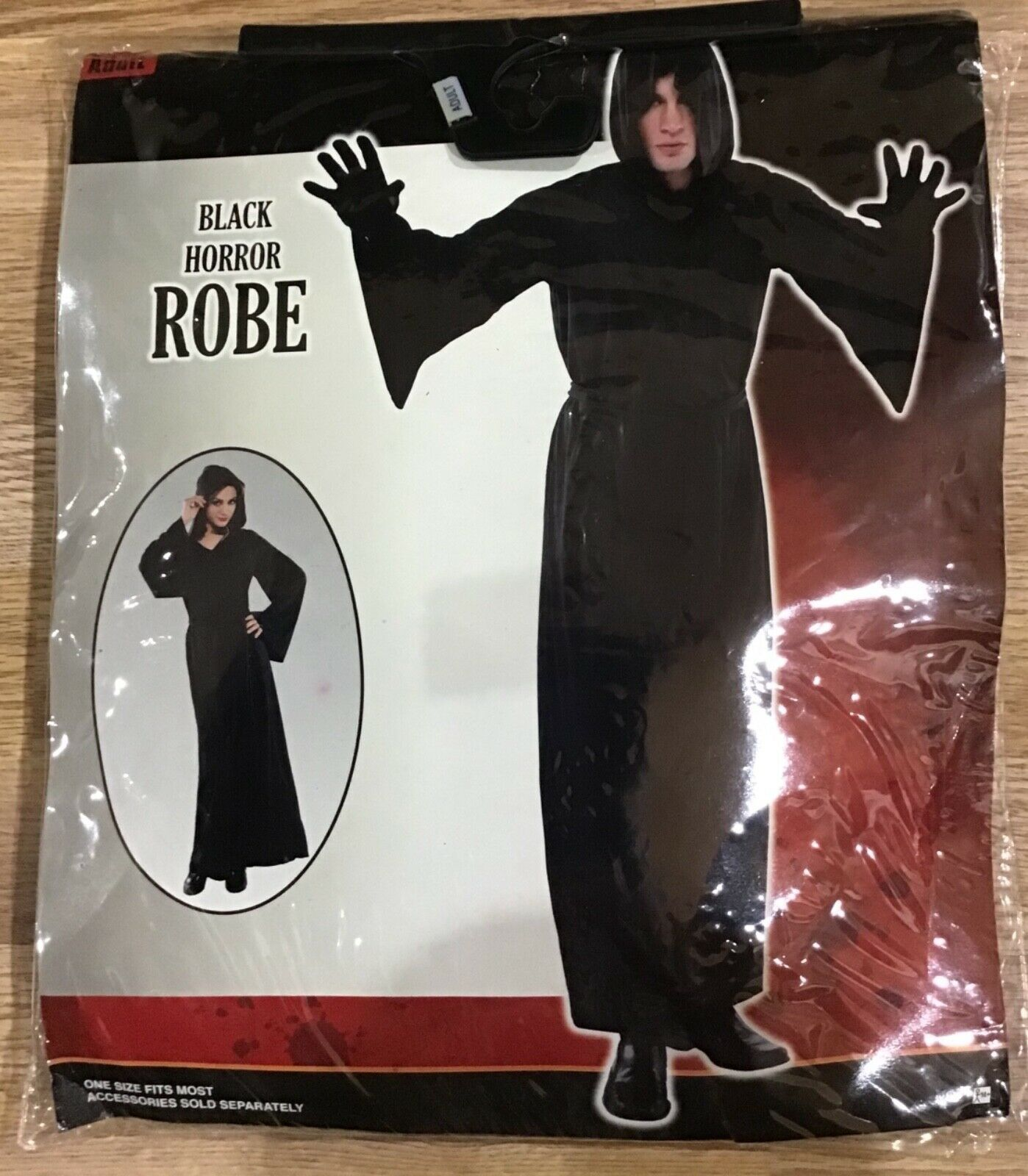 Primary image for Nylon Horror Robe Halloween Costume with Hood for Adults Black One Size Uni-Sex