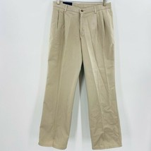Chaps Boys Chinos Beige 100% Cotton Pleated Front Pants 18 Husky New - $11.87
