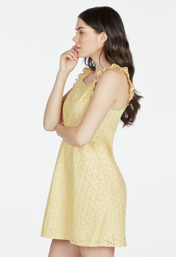 d31d1c7a7a128 JustFab Eyelet Swing Dress Mimosa Yellow and 50 similar items