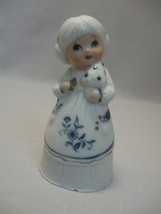 Bisque Porcelain Jasco Royal Majestic Bell Little Girl Blue & White 1980 - $7.95
