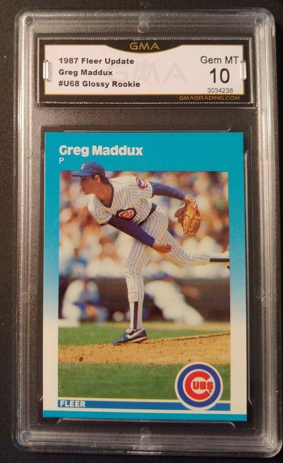 Greg Maddux 1987 Fleer Update Glossy #U-68 graded GMA 10 Chicago Cubs cards LA