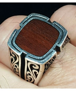 Mens Wood Inlay 925 Solid Sterling Silver Ring Size 11 - $44.00