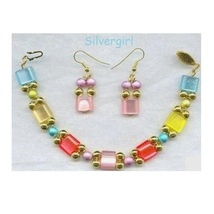 Fiber Optic Resin Glass Drizzle Beaded Bracelet Earring Set - $13.99
