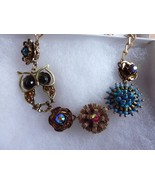 Owl Rhinestone Medallion Bead Necklace Gold tone - $19.55
