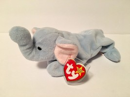 Ty Beanie Babies Plush Beanbag Peanut the Elephant Light Blue - $7.78