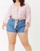 Forever 21 + Cropped Tie Front Pink White Checkered Plaid Top Plus Size ... - $11.28