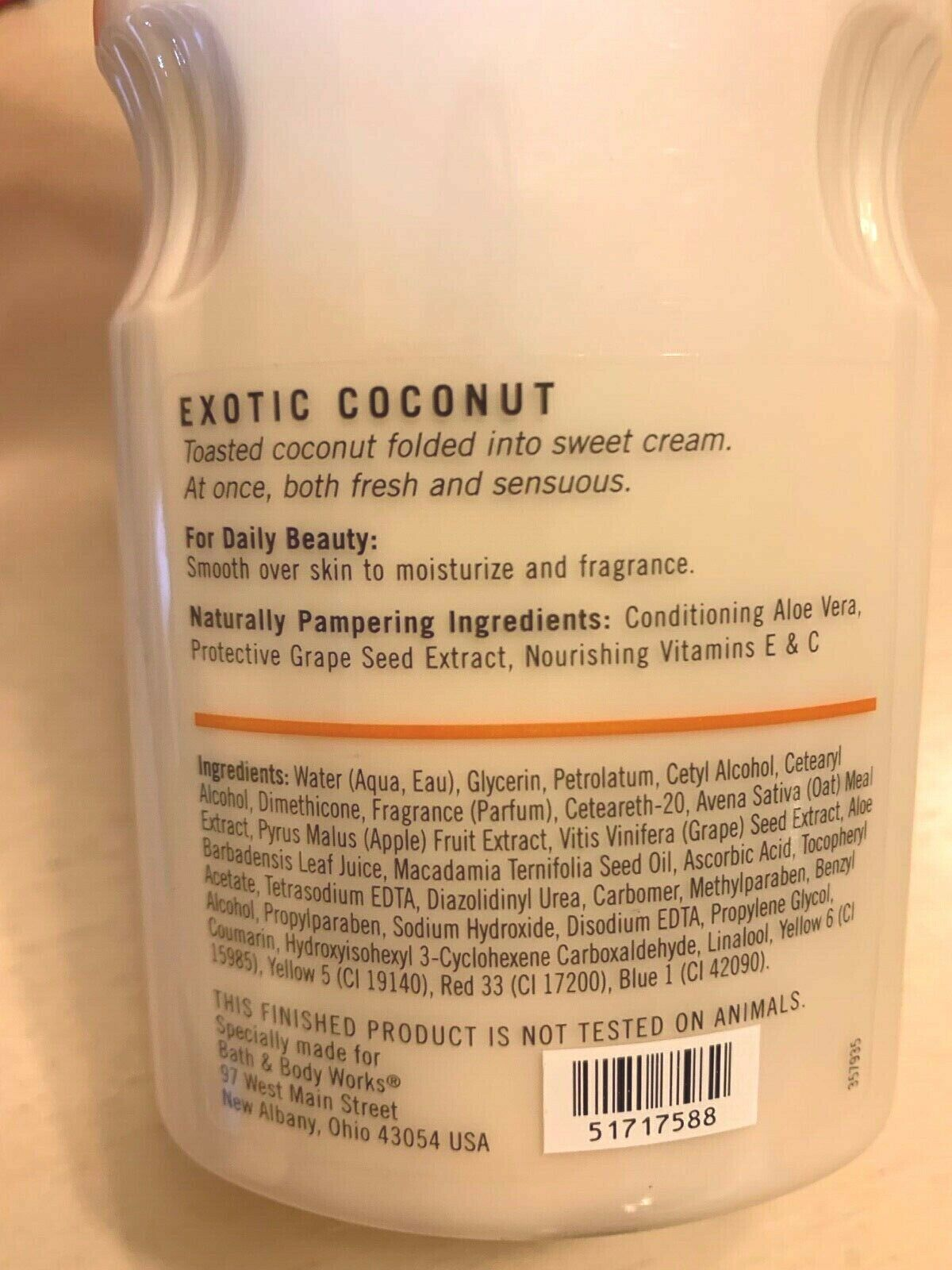 Bath and Body Works EXOTIC COCONUT Older Style Discontinued Lotion New 8 Oz