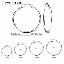 LUXUSTEEL Pendientes Mujer Hoop Earrings Stainless Steel Gold/Silver Col... - $7.45