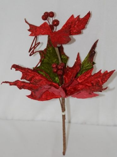 Unbranded Red Curly Qs Holly Berries Holiday Decoration Poinsettia