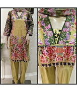 Pakistani Yellow Printed Straight Shirt Lawn Suit with Threadwork - $54.45