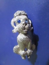 POODLE PIN SCATTER PEWTER TONE METAL TEXTURED DETAILED BLUE RHINESTONE EYES - $18.00