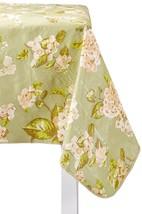 Farberware Tablecloth Hydrangea 60x84 Peva Flannel Back Vinyl Green Floral - $15.83