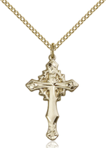 Crown of Thorns 1 5/8 Inch 14kt Gold Filled Cross Necklace Pendant - $109.99