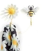 Set of 2 Single Hook Bumble Bee Design & Daisy Flower Design Yellow, Black White