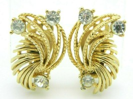 Lisner Clear Rhinestone Textured Gold Tone Abstract Vintage Earrings - $24.74