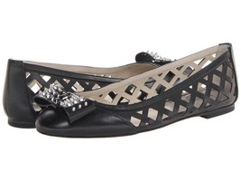 Michael Kors Larissa Ballet Black Leather Flats Shoes $150.00 Multiple S... - €55,26 EUR
