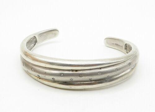 925 Sterling Silver - Vintage Genuine Diamond Dotted Ribbed Cuff Bracelet- B6308 image 2