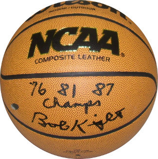 Bobby Knight signed NCAA Wilson Indoor/Outdoor Basketball 76 81 87 Champs- Stein