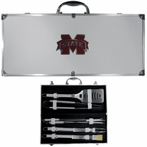 mississippi bulldogs 8 pc tailgater stainless steel bbq set with metal case - $126.34
