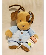 Carters Puppy Dog Musical Crib Pull Toy Blue Brown Paws Plush Stuffed An... - $27.70