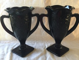 vases black amethyst glass loving cup  7 1/4in tall - $90.00