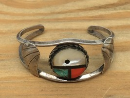 VINTAGE NATIVE AMERICAN STERLING SILVER CUFF BRACELET TURQUOISE CORAL MI... - $78.40