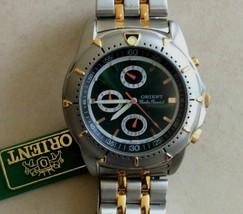 Orient Men's Two Tone Chronograph Watch Green Round Dial CTS00001F0 - $122.50