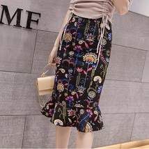 Elegant Printed Fishtail Large Size Lady Skirt - $34.00