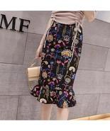 Elegant Printed Fishtail Large Size Lady Skirt - $34.00