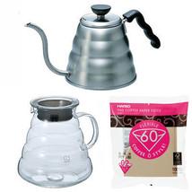 Hario V60 - 1200 ml Metal Kettle, 800 ml Glass Kettle & 100 Filters - $76.22
