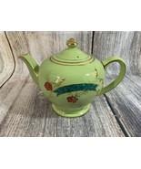 Vintage Sadler England Green Pearl & Gold Red Floral Teapot #1961 - $27.12