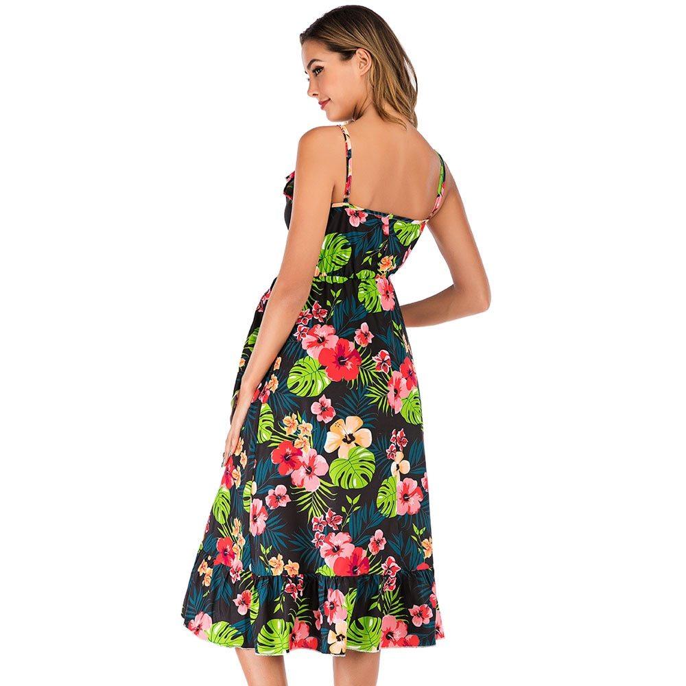 Maternity's Dress V Neck Floral Print Long Slip Dress image 5