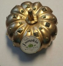 "Pumpkin Boutique Gold Painted Foam Pumpkin Decorated with Bling 6"" acros... - £6.64 GBP"