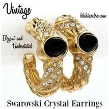 Swarovski Crystal Vintage Hoop Earrings With Black Cabochons - $35.00