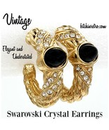Swarovski Crystal Vintage Hoop Earrings With Black Cabochons - $35.00
