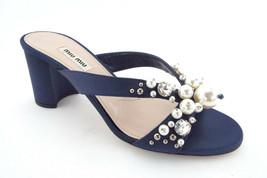 New MIU MIU Size 7 Blue Satin Crystal & Pearl Slide Sandals Heels Shoes 37 Prada - $329.00