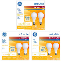 GE Soft White 3-Way 50/100/150 Watt A21 Light Bulb 6-Pack