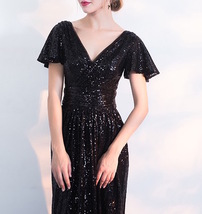 BLACK Sleeved High Waist Maxi Sequin Dress Floor Length Sequin Wedding Dresses image 7