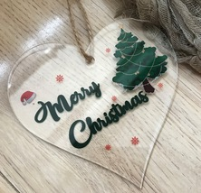 5pcs acrylic Hanging Heart Plaque Gifts for christmas tree Celebrate Fam... - $15.40