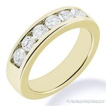 Round Cut Moissanite Channel Setting 7-Stone Ring 14k Yellow Gold Weddin... - €504,85 EUR+