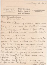 Clair-Coogan Pottsville, Pa. 1920 Ladies Apparel and Millinery Letter Re... - $24.44