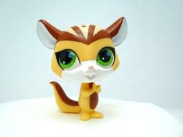 Littlest Pet Shop #2692 Yellow Brown White Totally Talented Chipmunk Green Eyes - $6.43