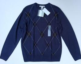 NWT Geoffrey Beene Size Small Cobalt Blue Mens Sweater Argyle Pattern Ac... - $29.69
