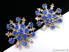 Vintage Blue Rhinestone Cluster Clip Earrings S... - $9.99