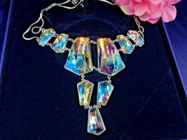 AUTHENTIC SIGNED SWAROVSKI EVENING AURORA BOREALIS LARGE NECKLACE 101436... - £417.92 GBP