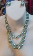 Vintage Signed Japan Blue Bead Demi Parure Triple Strand Necklace Earrin... - $44.55